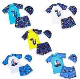 Boys two piece swimwear online shopping - Children s swimsuit boys swimming trunks suit boys split dinosaur sunscreen swimwear with Baby Hat