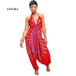 $enCountryForm.capitalKeyWord NZ - Echoine Women Jumpsuit National Style Print Sexy V-neck Halter Backless Spaghetti Strap Sleeveless Loose Long Pant Female Romper Y19071701