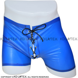 army hot underwear UK - Transparent Blue Sexy Latex Hot Pants With Lacing Front And Back Rubber Briefs Underwear Panties Underpants Pants DK-0083
