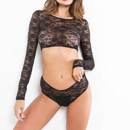 $enCountryForm.capitalKeyWord Australia - 2019 Lingerie Sexy Hot Erotic Women Fashion Lingerie Lace Embroidered Transparente T-Shirt Sexy Underwear Suit Porno A1