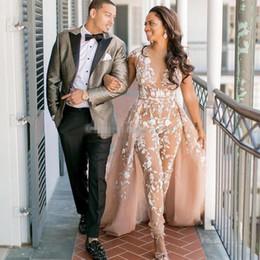 Lace Sheer Jumpsuit Australia - 2019 Jumpsuits Boho Wedding Dresses Sheer Jewel Neck Beach Bridal Gowns With Detachable Train Appliqued Lace vestido de novia
