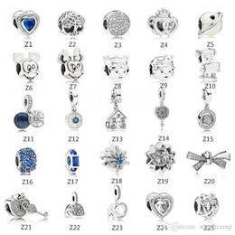 Pandora s925 online shopping - s925 Sterling Silver bead Fits Pandora Bracelet for jewelry make Crystal Dangle Love Beads Charms For European Snake Chain Fashion