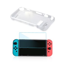 anti shock protectors Canada - AMS-TPU Anti-Scratch Back Case Cover Premium Crystal Clear Shock with Tempered Glass Screen Protector for Nintendo Switch White