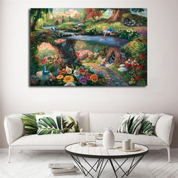 Wholesale Alice In Wonderland Canvas Painting By Thomas Kinkade Posters Prints Wall Art Picture Modern Home Decoration Kid Christmas Gifts Framework
