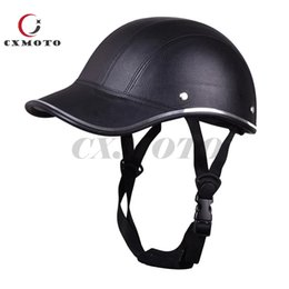Leather Half Motorcycle Helmets Australia - High Quality ABS Leather Safety Pratective Motorcycle Half Face Helmet Baseball cap for Men and Women