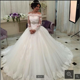 Hot Sexy White Dresses Australia - Robe de Mariage new white lace ball gown wedding dresses long sleeve princess puffy corset sexy sheer back wedding gowns hot sale 2019