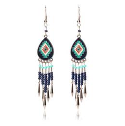 Chandelier Beads Chains Australia - Handmade Native American Style Tribal Chip Stone Seed Bead Triangle Chandelier Long Beaded Chain Dangle Earrings