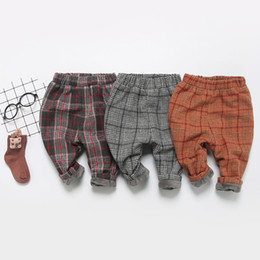 Baby Cotton Winter Tights Pants Canada - Retail Fall Winter Newborn Infant Baby Boys Girls Thick Pants Wool Plaid Harem Trousers Bebe Velvet Leggings Free Drop Shipping