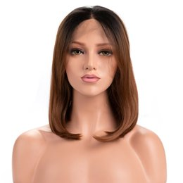 Ombre Bob Black Brown Wig Australia - Top Quality Ombre Brown Wig 14 Inches Black Roots Short Bob Straight Lace Front Wig Natural Hairline Synthetic Wigs for Women Real Picture