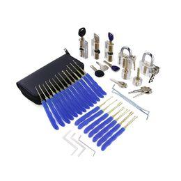 $enCountryForm.capitalKeyWord Australia - 24pcs Lock Pick Tools with 7pcs Different Transparent Practice Locks for Locksmith Kit Train Set(Blue)