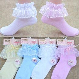 $enCountryForm.capitalKeyWord Australia - Beautiful Autumn And Winter Cotton Warm Princess Girls Socks Toddler Kids Baby Vintage Lace Bow Ruffle Frilly Ankle Socks
