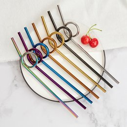 Curved straw online shopping - 230 mm Stainless Steel Straw Creative Colorful Curved Metal Straw Juice Cocktail Coffee Tea Reusable Drinking Straws HHA892