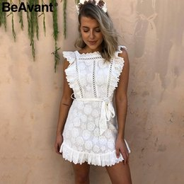 $enCountryForm.capitalKeyWord NZ - BeAvant Vintage ruffle pinafore white women dress Elegant lace high waist summer dress Embroidery cotton short dress party