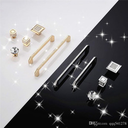 Wooden Pull Handles Australia - Single Hole Golden color Decorative Jewelry Box Drawer Cabinet Dresser Wooden Case crystal diamond Handle Pull Knob with screw
