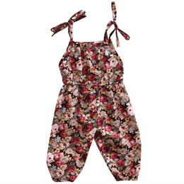 Infant Girl Romper Sets Australia - Newborn Babys Kids Girls Clothes Sets Summer Sleeveless Braces Floral Infant Romper Jumpsuit Cotton Baby Girl Clothes Outfit Set