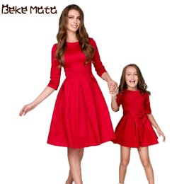 $enCountryForm.capitalKeyWord Australia - Beke Mata Mother Daughter Evening Dresses 2019 Bow Tie Mommy And Me Clothes Half Sleeve Family Look Mom Girl Bow Grown Clothing Y19051103