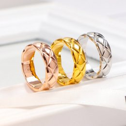 Discount platinum wedding rings for couples - Women Men's Wedding Gift CC Ring Solid stainless steel platinum Rose gold Yellow Gold plated couples Ring for Men