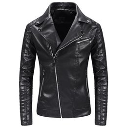 Beige Motorcycle Jacket Australia - Spring British Style Men leather Jackets and Coats Autumn Casual Black Men PU Jacket Motorcycle Leather Jacket,Dropshipping