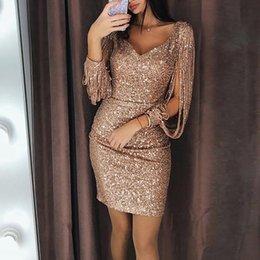 $enCountryForm.capitalKeyWord Australia - LZJ New 2019 Fashion Sexy Women V Ncek Solid Sequined Glitter Stitching Shining Club Sheath Long Sleeved Mini Dress For Female