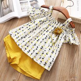 $enCountryForm.capitalKeyWord Australia - 2pcs lot Design baby outfits suit girls floral suspender top+shorts summer children set kids fashion clothing boutique