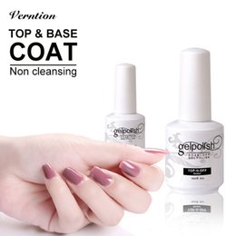 acrylic base coat nails primer NZ - Verntion Top and Base Coat Transparent Nail Gel Polish No Sticky Gel Acrylic Glue Nail Polish Non Cleansing Base for Primer