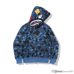 zipper teeth NZ - 19FW Non-flannel Japanese Chao Camouflage Terry Cloth Card Zipper Animal Head Tooth Printed Hat Shirt Sanitary Clothes Wholesale