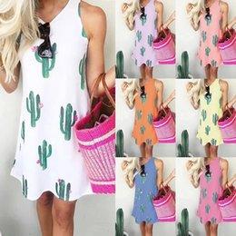 $enCountryForm.capitalKeyWord Australia - Cactus print dress New Fashion Women Sleeveless Loose Cactus Print Tank Top Dress Cactus beach short skirt Hot style