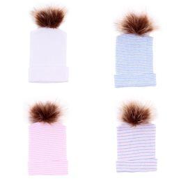 Knit hats for infant girls online shopping - Newborn Baby Stripe Hats Kids Designer Cotton Knitted Caps Baby Infant Boy Girl Hat Fox For Ball Cap Winter