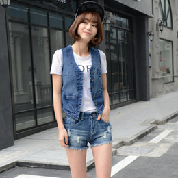 vintage vests women Australia - Vintage Autumn Women 100%Cotton Soft Sleeveless Denim Waistcoat Button Plus Size Female Slim Short Jeans Vest