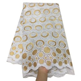white swiss cotton voile fabric Australia - Nigerian Lace fabric 100% cotton swiss voile lace african dry lace fabrics with gold embroidery 5yards