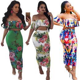 5a457129c Mulheres florais de duas peças vestido mulheres peito envoltório longo  vestido terno envolto peito saias longas roupas casuais sexy plissado  vestido de ...
