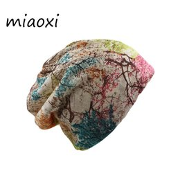 branded beanies Australia - miaoxi Fashion Women Spring Hat Brand Caps Scarf Two Used Casual Adult Autumn Floral Girl's Beanies Skullies Casual