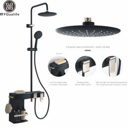 $enCountryForm.capitalKeyWord NZ - Matte Black Shower Faucet Set Bathroom Rainfall Shower Mixer Faucet Bath Furniture Shower System and Storage Box Commodity Shelf