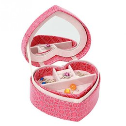 $enCountryForm.capitalKeyWord Canada - Jewelry Storage Box Display With Mirror Gift Necklace Rings Earrings Makeup Organizer Portable Leather Travel Case Heart Shaped