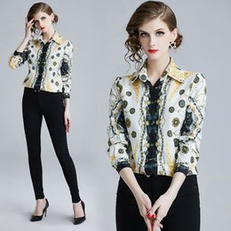 Channel Print Australia - New 2019 Spring OL Women Luxury Vintage Paisley Print Blouses Tops Ladies Casual Office Button Front Lapel Neck Long Sleeve Channel Shirts