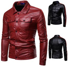 Luxury Motorcycle Jackets Australia - Autumn Winter Luxury Pu Leather Jacket for Men Long Sleeve Motorcycle Jacket Male Stylish Slim Fit Jacket Black Red Veste Cuir Homme M-3XL