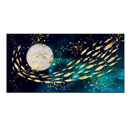 $enCountryForm.capitalKeyWord UK - Wall Art Gifts Hot series Modern Abstract Gold Feng Shui Koi Fish Painting Printed On Canvas Picture office Living Room Home Decor BFS4024