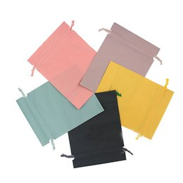 Drawstring Packaging Bags Wholesale UK - 20pcs Colorful plastic bag wrap string drawstring PE bag gift wrap beauty delicate packaging 5 colors solid jewelry storage bags