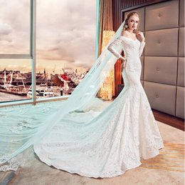 $enCountryForm.capitalKeyWord NZ - Mermaid Wedding Dresses Word Shoulder Long-Sleeved Was Thin Fishtail Long Tail Lace Halter Strap White Winter Garden Dresses