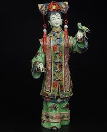 sculpture ceramics NZ - 12 inches high!!!! Collection of Chinese Handmade Ceramic Sculptures Qing Dynasty Sculptures with Palace Lady Style