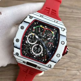 $enCountryForm.capitalKeyWord Australia - Top luxury mens watches 50-03 Watch Swiss Quartz Chronograph Movement Skeleton Dial Carbon Fiber Case Sapphire Crystal Red Rubber Strap