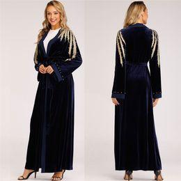 2931d895f0 Muslim Women Islamic Embroidered Cardigan Long Women Ethnic Robes Abaya  Islamic Muslim Middle East Maxi Dress Bandage KaftanZ411