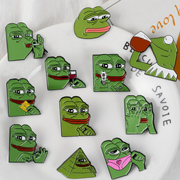 $enCountryForm.capitalKeyWord Australia - The Frog Pepe Sad Think Drink Funny Cute Animal Denim Jacket Brooches for Women Enamel Pins Badge Jewelry Gifts Men YD0232