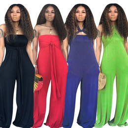 Green Jumpsuit Black Woman Australia - Women Bandage Wide Leg Jumpsuits Strapless Tube Pocket Cross Halter Loose Casual Long Jumpsuit Black Green Red Blue S-3XL