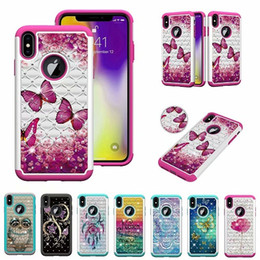 owl iphone cases Australia - Bling Diamond Hybrid Owl Mandala Flower Butterfly Hard PC+TPU Case For Iphone XR XS Max X 8 Plus Galaxy S8 S9 S10E Plus Note 9 Cover