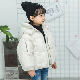 warmest winter parkas NZ - 2019 girls coat winter thick warm cotton jackets coats parkas white hooded zipper batwing sleeve kids outwear clothes 5 colors