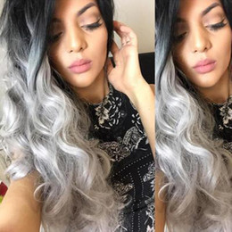 $enCountryForm.capitalKeyWord Australia - Woman Long Curly Hair Black Gradient Grandma Gray Big Wave Volume Dyed Wig High Temperature Silk
