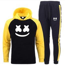 Discount yellow smiley hoodie New Male Women Hoodies Sets Tracksuit Sweatshirt Suit Fleece Hoodie+Sweatpants Jogging Homme Pullover Hit Color Smiley P
