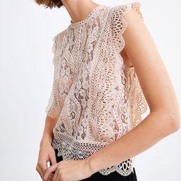 Hollow Lace Shirts Crochet Australia - Lace blouse 2019 vintage Shirt butterfuly sleeve short Blouses cotton embroidery elegant vest Women crochet hollow out blouse boho blusas