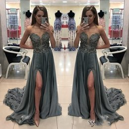 Line bateau chiffon Lace online shopping - Chic Sheer Neck Gray Prom Dresses Sleeveless Beaded Chiffon Sweep Train Split Evening Dress Party Gowns